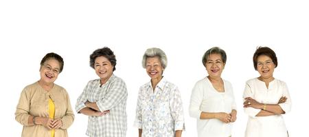 Group of Asian Senior Adult Women People Set Studio Isolated Stock Photo
