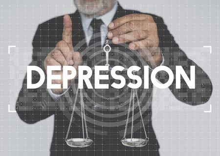 Businessman holding scale and depression word