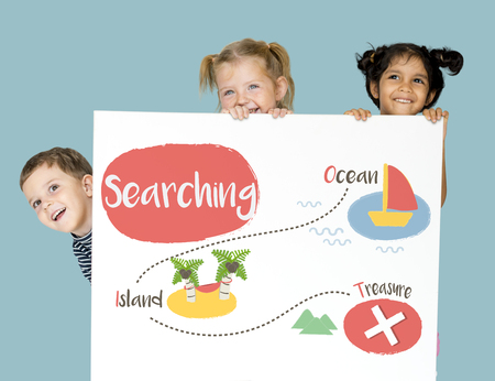 Kids playing treasure hunt graphic Stock Photo - 80384596
