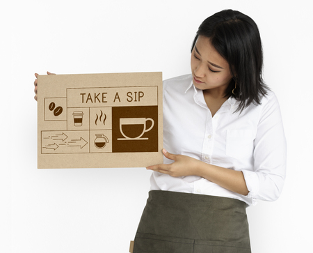 Woman holding banner Illustration of coffee shop advertisement