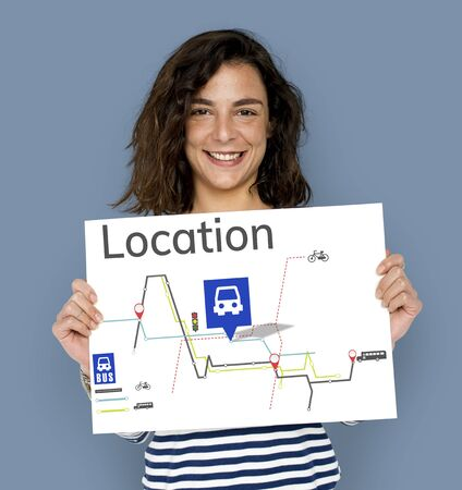 Map Route Trip Transportation Location Guide Stock Photo