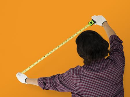 Man Using Tape Rule Measure Studio Reklamní fotografie