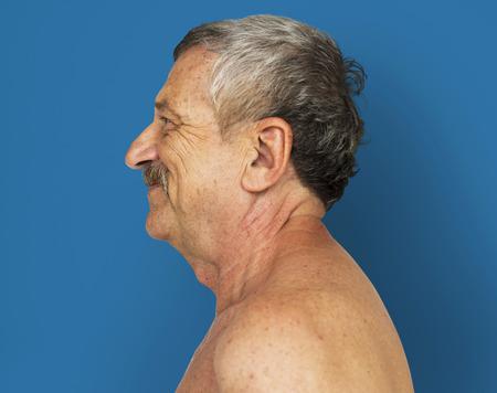 Senior Adult Man Bared Chest Studio Portrait
