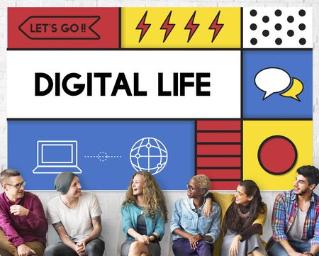 multiethnic: Digital Life Modern Technology Concept Stock Photo