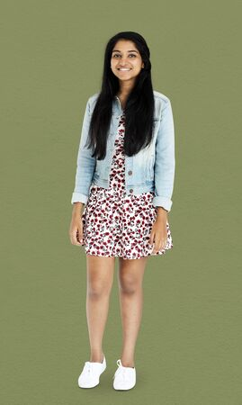 Young indian womn standing with casual outfit