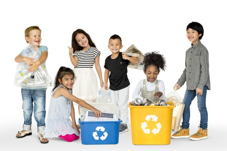 Diverse Group Of Kids Recycling Garbage Reklamní fotografie