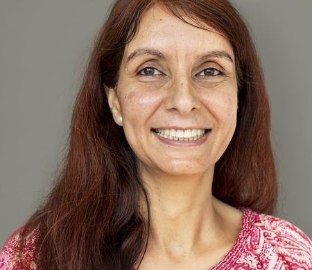 Adult woman smiling studio portrait Stock fotó