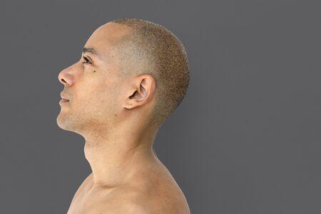 skinhead: A skinhead guy is in a studio shoot