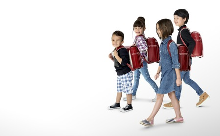 Happiness group of cute and adorable students are back to school Imagens
