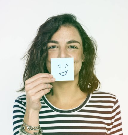 Woman Happy Face Expression Emotion Stock Photo