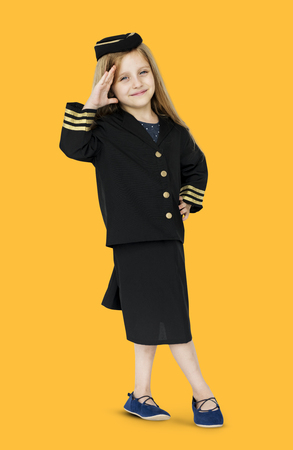 Young caucasian girl in the air hotess uniform