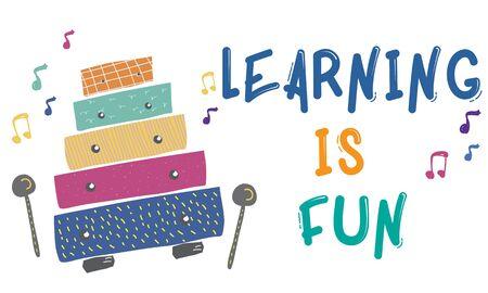 어린이 조기 교육 여가 활동 음악 일러스트 레이션 스톡 콘텐츠