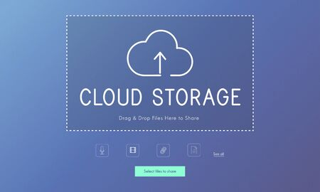 Cloud storage upload and download data management technology Stock fotó - 80415039
