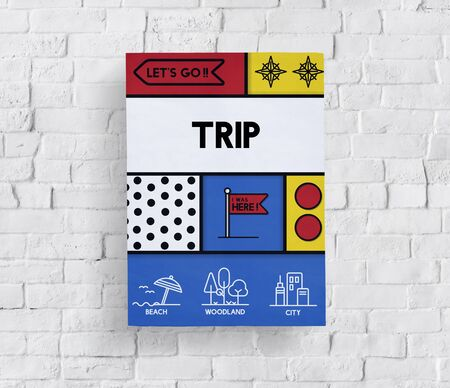 wanderlust: Holiday trip tour itinerary travel graphic Stock Photo