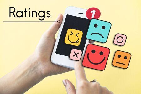 Customer evaluation feedback smiley emoticons