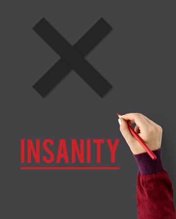 Insanity Mad Psyco Pazienza Irresponsabilità Salute mentale Archivio Fotografico - 80340847