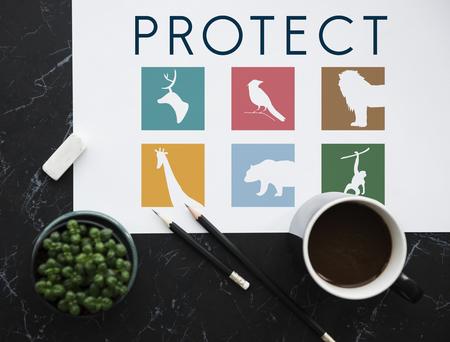 Save animals icon graphic banner