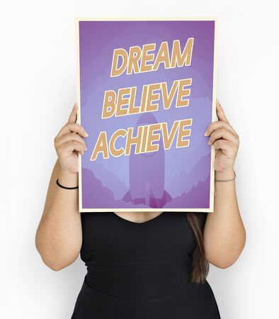 People holding aspiration word quote banner board Stok Fotoğraf - 80341161