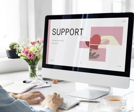 Illustration of charity donations campaign on computer Stock Photo