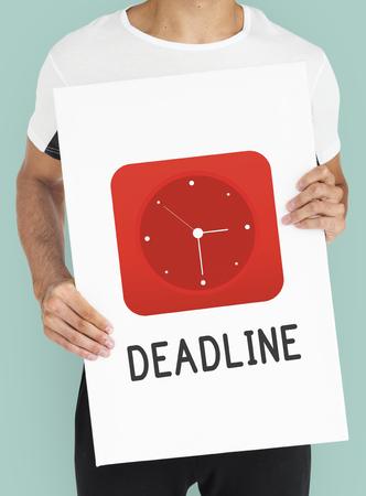 Deadline red analog alarm clock icon