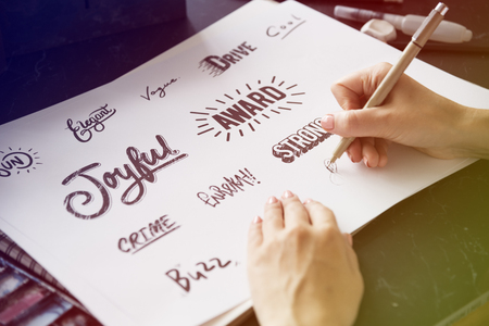 Typography word style collection design writing down the paper Stock Photo
