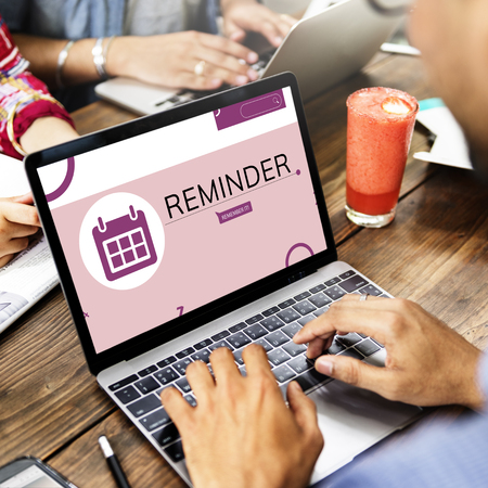 Illustration of personal organizer reminder calendar on laptop