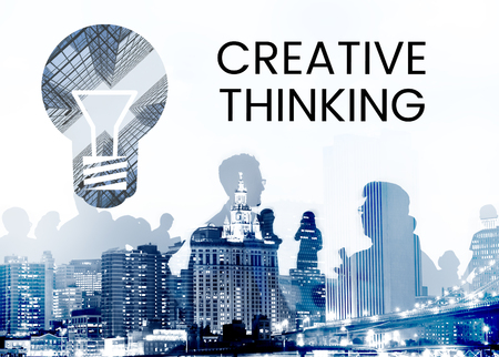People with graphic of creative ideas digital technology light bulb Banco de Imagens