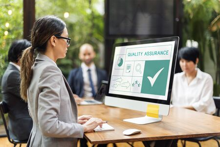 exclusive: People with illustration of quality product warranty assurance