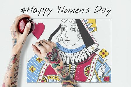 Queen Card Feminine Women Graphic Stok Fotoğraf