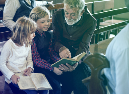 Adult Man Priest Father Show Bible Kids Church