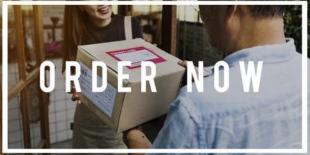mailmen: Deliveryman handingover parcel to customer
