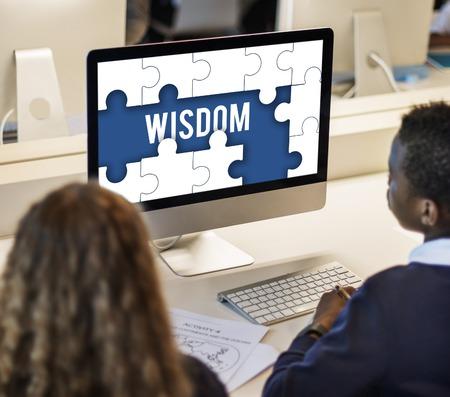 spolužák: Education Learning Puzzle Pieces Graphic Reklamní fotografie