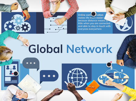Global network communication technology graphic 版權商用圖片