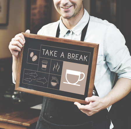 Man holding banner Illustration of coffee shop advertisement blackboard Stok Fotoğraf
