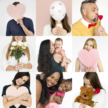 Set of Diversity People Love Smitten Feeling Studio Collage