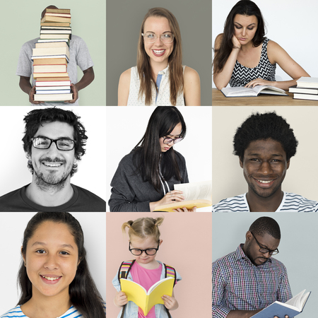 Collection of students stuydying with textbook