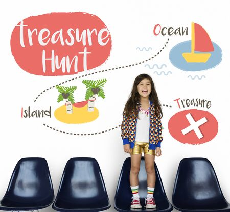 enjoyment: Kids playing treasure hunt graphic