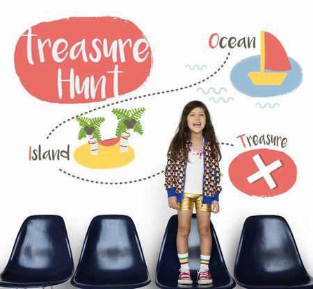 portrait young girl studio: Kids playing treasure hunt graphic