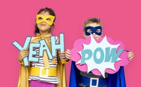 Little Kids Superhero Yeah Pow Papercrafts Stok Fotoğraf