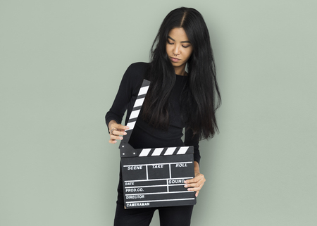 Young Women Hands Hold Clapper Board Stock fotó