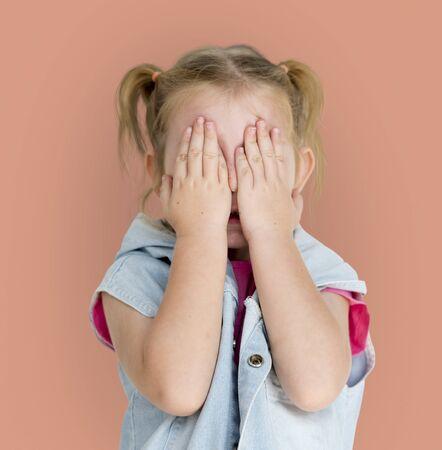 Little GIrl Human Hand Cover Playful 版權商用圖片