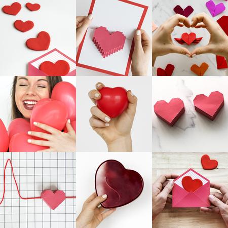 사랑 하트 아트웍 스튜디오 콜라주와 성인 여성 스톡 콘텐츠