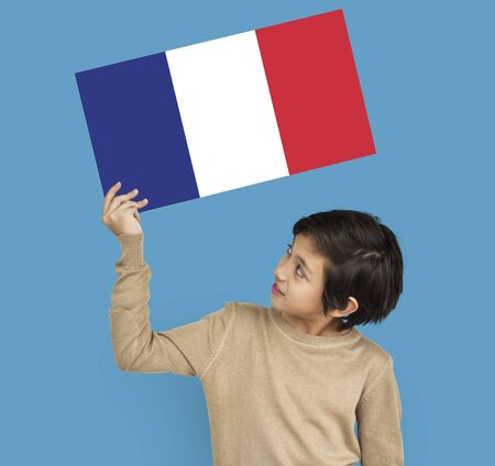 french ethnicity: Man Hands Hold French France Flag Patriotism