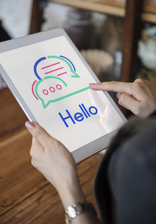 Tablet with hello concept