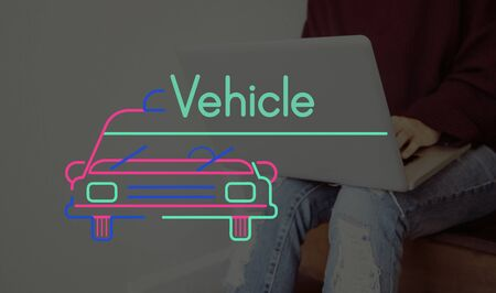 Person Connect Using Laptop and Car Graphic