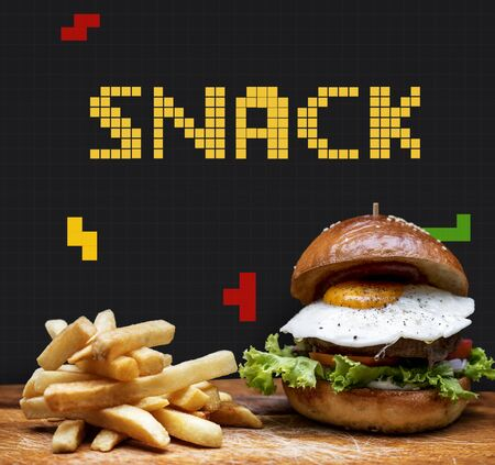 Burger and fries with 8 bit illustration of tasty menu Фото со стока
