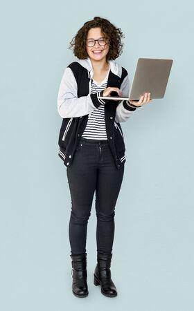 Young Adult using Laptop Studio Portrait