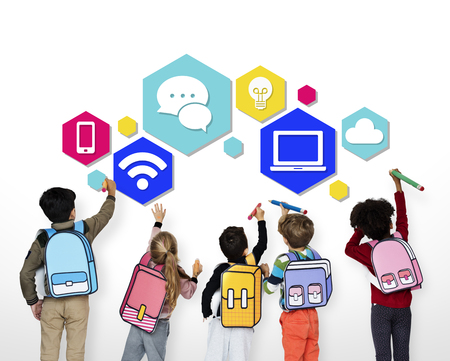 Children with modern technology icons Reklamní fotografie