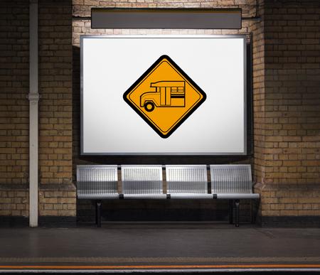 Bus Stop Sign Vehicle Symbol Stock fotó