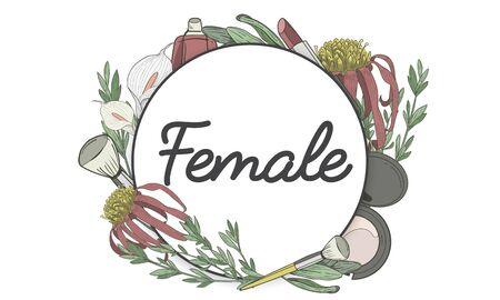 Feminine Female Grace Floral Frame Reklamní fotografie - 80392102